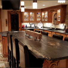 Mediterranean Kitchen Countertops by Custom Marble & Granite