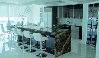 Black kitchen design with ocean view