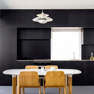 Black laminate kitchen on 'Birch' plywood