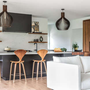Design ideas for a contemporary kitchen in Portland Maine with black cabinets, quartz benchtops, panelled appliances and white benchtop.