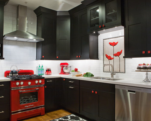 Eat In Kitchen   Large Eclectic L Shaped Medium Tone Wood Floor Eat