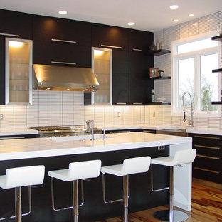 ナッシュビルの中サイズのモダンスタイルのおしゃれなキッチン (エプロンフロントシンク、フラットパネル扉のキャビネット、黒いキャビネット、人工大理石カウンター、白いキッチンパネル、シルバーの調理設備、無垢フローリング) の写真