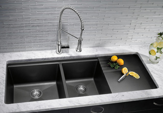 Stone Sink Cleaner : Kitchen Sinks: Granite Composite Offers Superior Durability