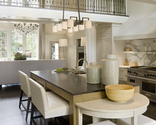 Transitional Open Concept Kitchen Photo In Denver With Shaker Cabinets Beige Gray Backsplash