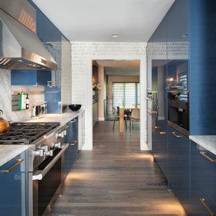 ニューヨークのコンテンポラリースタイルのおしゃれなII型キッチン (フラットパネル扉のキャビネット、青いキャビネット、シルバーの調理設備の、無垢フローリング、アイランドなし) の写真