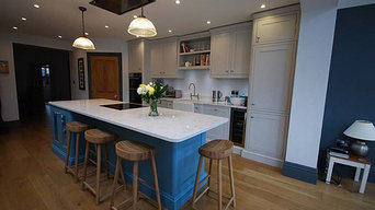 Blue and grey traditional style wooden painted kitchen