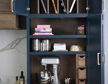Blue and Hickory Modern Farmhouse Kitchen with a Baking Center Larder Cabinet