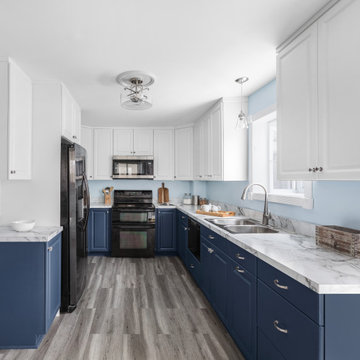 Blue & White Cabinets with Grey Details