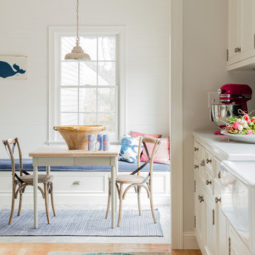 Blue and White Coastal Kitchen and Family Room