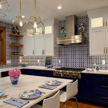 Blue and White Delightful Kitchen Remodel