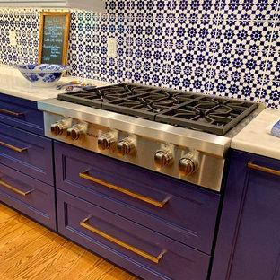 Exempel på ett mellanstort klassiskt vit vitt kök, med en rustik diskho, luckor med infälld panel, blå skåp, marmorbänkskiva, flerfärgad stänkskydd, stänkskydd i terrakottakakel, integrerade vitvaror, mellanmörkt trägolv och en köksö