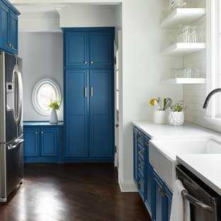 Blue and White Kitchen with Apron Front Sink