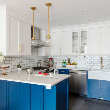 Blue Cabinets Kitchen and Pineapple Bathroom