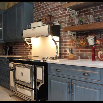 Blue country kitchen