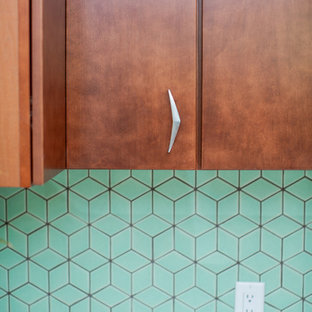 Aqua Midcentury Kitchen Backsplash
