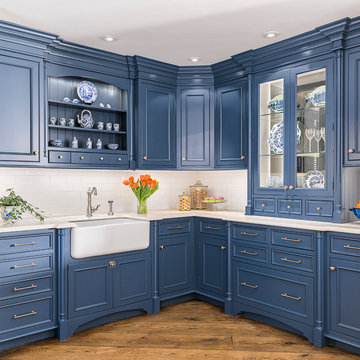 Blue English Country Kitchen in Connecticut