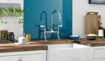 Blue glass splashbacks