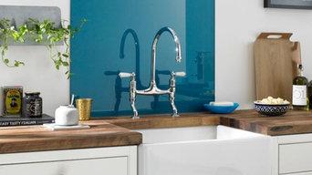 Blue glass splashbacks