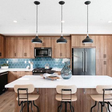 Blue Hexagon Backsplash Tile with Industrial Bar Stools