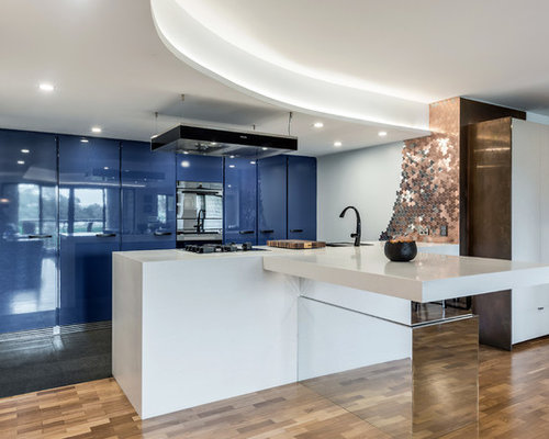 Exceptional Inspiration For A Large Contemporary Kitchen In Sydney With Flat Panel  Cabinets, Blue Cabinets