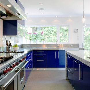 Inspiration for a contemporary kitchen in Ottawa with stainless steel appliances, an integrated sink, stainless steel benchtops, flat-panel cabinets and blue cabinets.