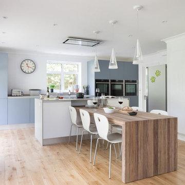 Blue Open Plan Kitchen