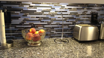 Blue Pearl Granite Counter with Glass & Granite Backsplash & undercabinet lights
