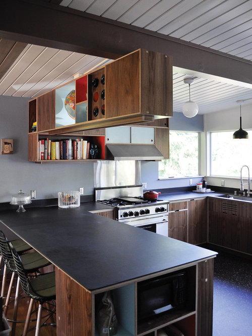 Inspiration for a modern u-shaped kitchen remodel in Seattle with  flat-panel cabinets