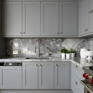 75 Most Popular Grey Kitchen With Marble Splashback Design Ideas For