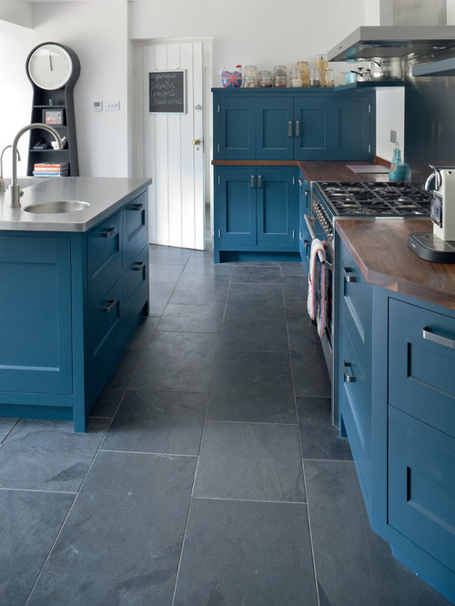 Kitchen design ideas renovations photos with blue for Slate blue kitchen decor