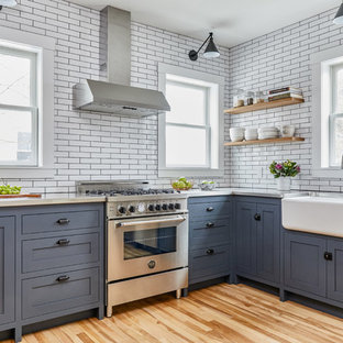 75 Beautiful Kitchen With Blue Cabinets And Stone Tile Backsplash Pictures Ideas January 2021 Houzz