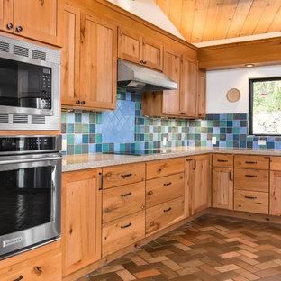Blue Tiled Backsplash in Traditional Style Kitchen