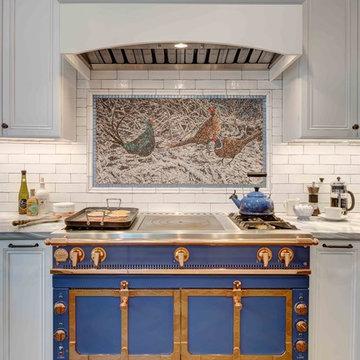 Blue, White, Orange Kitchen