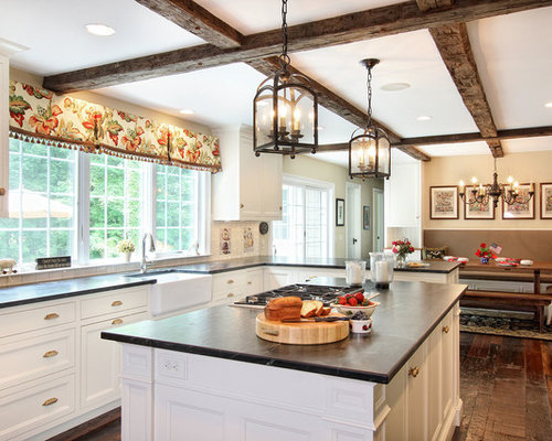 Elegant Eat In Kitchen Photo Philadelphia With Recessed Panel Cabinets And White