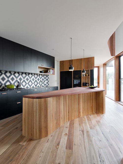 Kitchen   Mid Sized Contemporary Medium Tone Wood Floor Kitchen Idea In  Melbourne With Flat
