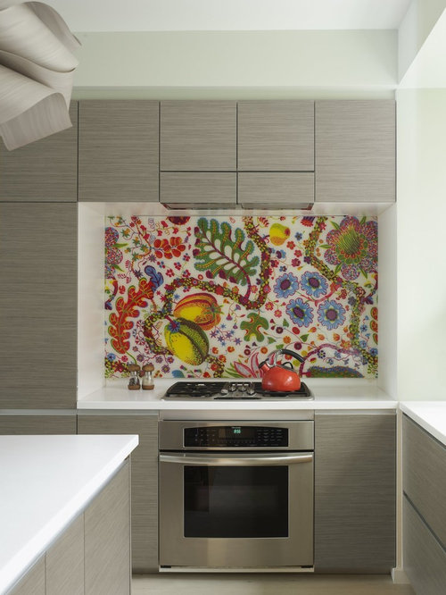 inspiration for an eclectic kitchen remodel in new york with stainless steel appliances flat - Kitchen Cabinets Backsplash Ideas