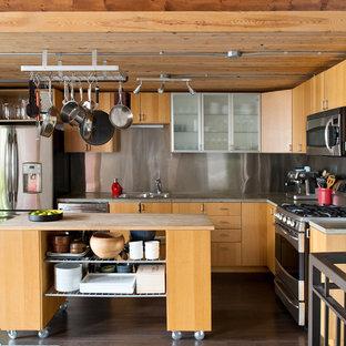 Inspiration för industriella l-kök, med en dubbel diskho, släta luckor, skåp i ljust trä, träbänkskiva, stänkskydd med metallisk yta, rostfria vitvaror, stänkskydd i metallkakel, mörkt trägolv, en köksö och brunt golv