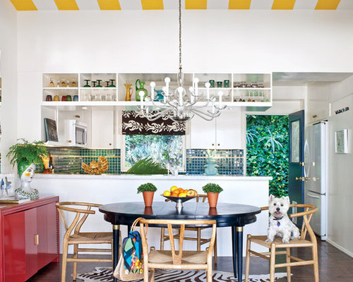 Inspiration For An Eclectic Kitchen Remodel In San Francisco With Flat Panel Cabinets White