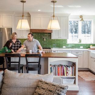 Bold White and Green Kitchen