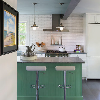 Small beach style kitchen photo in Providence
