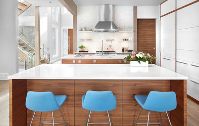 Kitchen With Double Islands Pleases a Baker and a Smoothie Maker