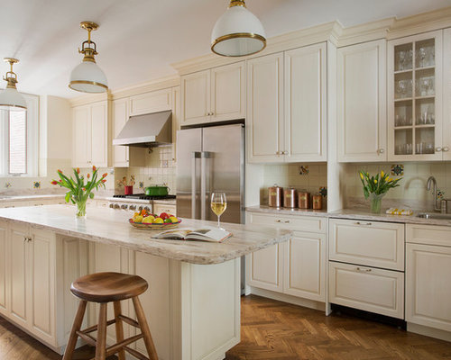 Lovely Large Traditional L Shaped Medium Tone Wood Floor Kitchen Idea In Boston  With An Undermount