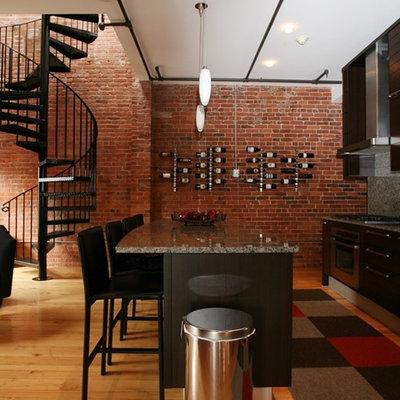 Kitchen - contemporary single-wall kitchen idea in Boston