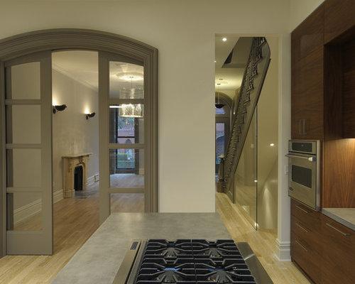 Contemporary Kitchen Idea In New York With Concrete Countertops
