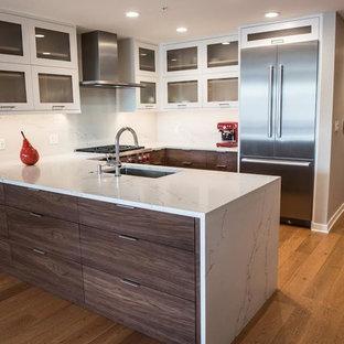 Offene, Mittelgroße Moderne Küche in U-Form mit Unterbauwaschbecken, Glasfronten, weißen Schränken, Marmor-Arbeitsplatte, Küchenrückwand in Weiß, Rückwand aus Marmor, Küchengeräten aus Edelstahl, dunklem Holzboden, Halbinsel und braunem Boden in Denver
