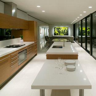 Imagen de cocina de galera, minimalista, abierta, con fregadero bajoencimera, armarios con paneles lisos, puertas de armario de madera oscura y electrodomésticos con paneles