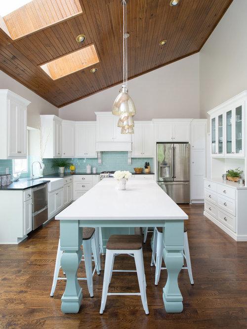 Elegant Farmhouse Kitchen Tiffany Blue And White Cabinets