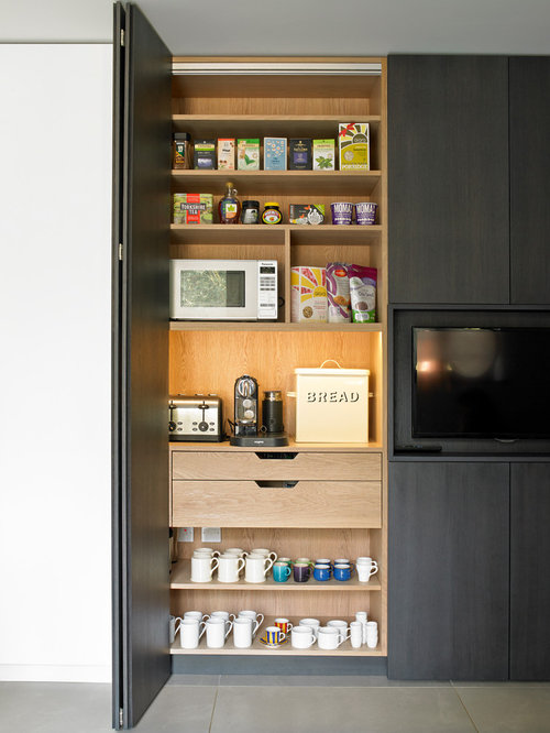 Contemporary Kitchen Pantry Photos   Example Of A Trendy Porcelain Floor Kitchen  Pantry Design In London