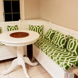 Breakfast Nooks and Banquette Seating - We used Cushion Source to create a comfortable and chic custom nook with our own fabric. We love the look of the cushions against the bright white nook. Cushion Source did a great job creating these cushions from scratch and working with us to create a unique look for our busy kitchen. (Customer Photo)