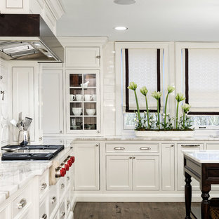 Traditional kitchen photos - Kitchen - traditional u-shaped dark wood floor kitchen idea in Cleveland with an undermount sink, beaded inset cabinets, white cabinets, marble countertops, white backsplash, ceramic backsplash and paneled appliances